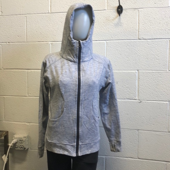 lululemon athletica Tops - Lululemon heathered navy sweat jacket w/ hood sz 6